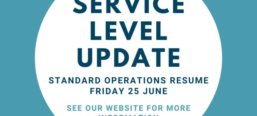 Standard Operations Resume 25th June